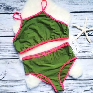 TINIBIKINI • Olive Hi-cut Hi-waist Bikini M